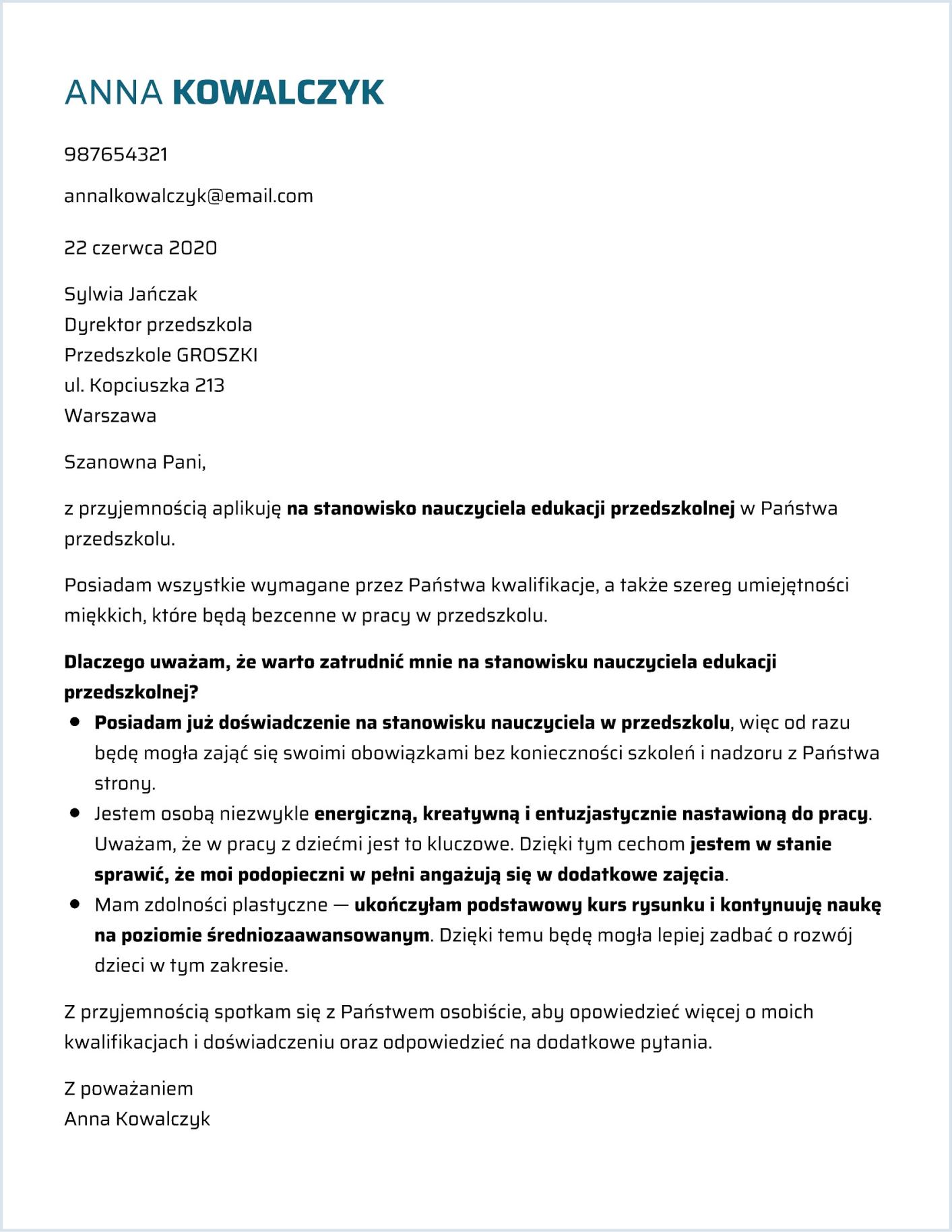 List motywacyjny szablon