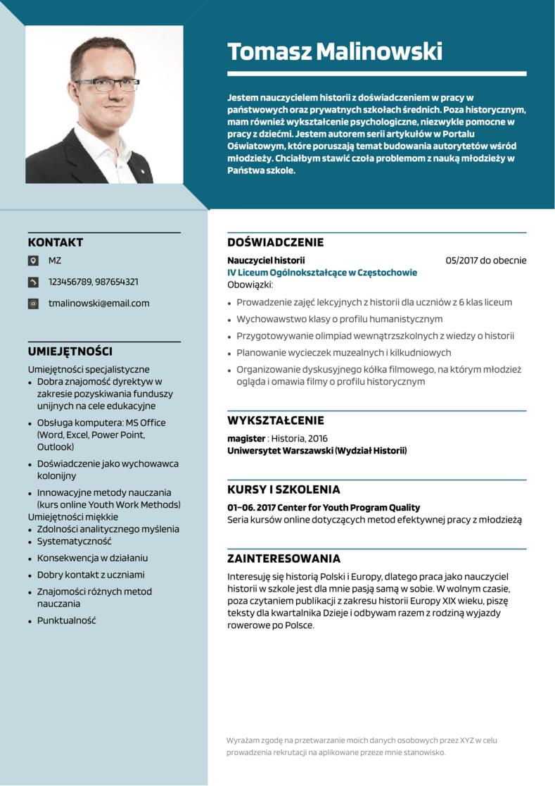 CV wzór nauczyciela