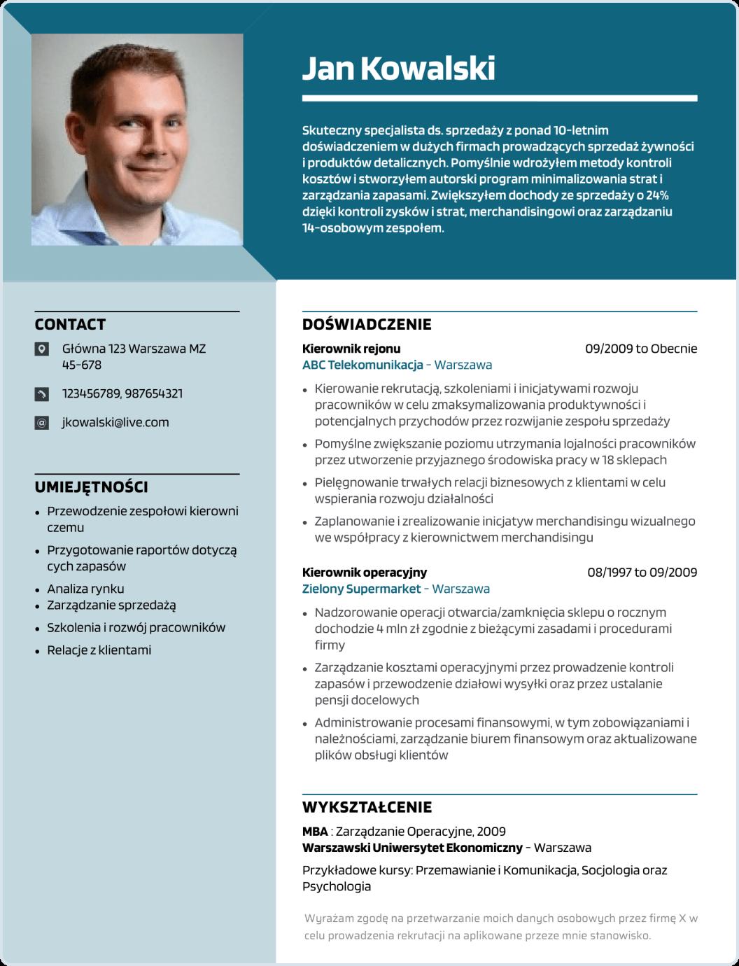 Szablon CV nowoczesny