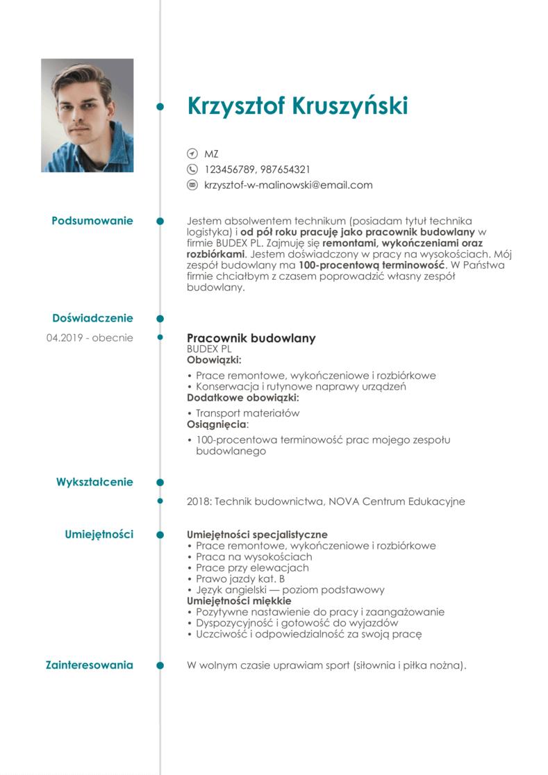 CV wzór pracownika fizycznego
