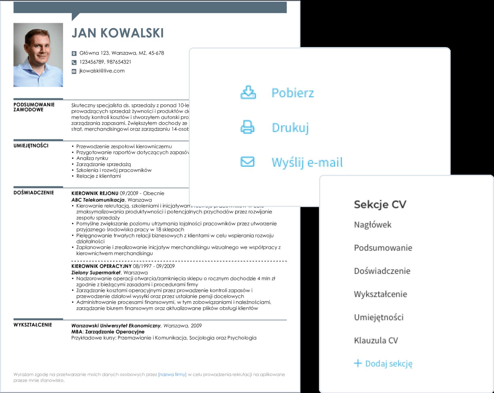 CV stworzone w kreatorze możesz pobrać jako plik PDF lub DOC