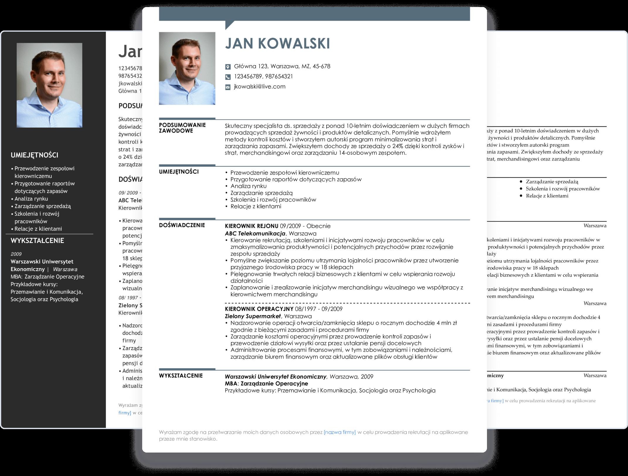 W kreatorze CV LiveCareer znajdziesz wiele szablonów CV do wyboru
