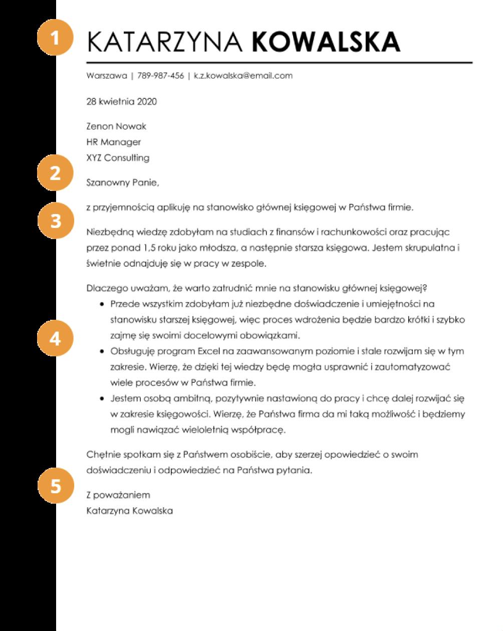 Budowa listu motywacyjnego wzór
