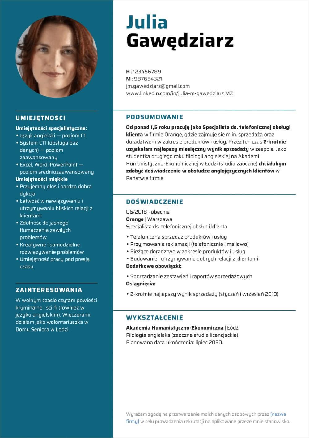 curriculum vitae wzor doc