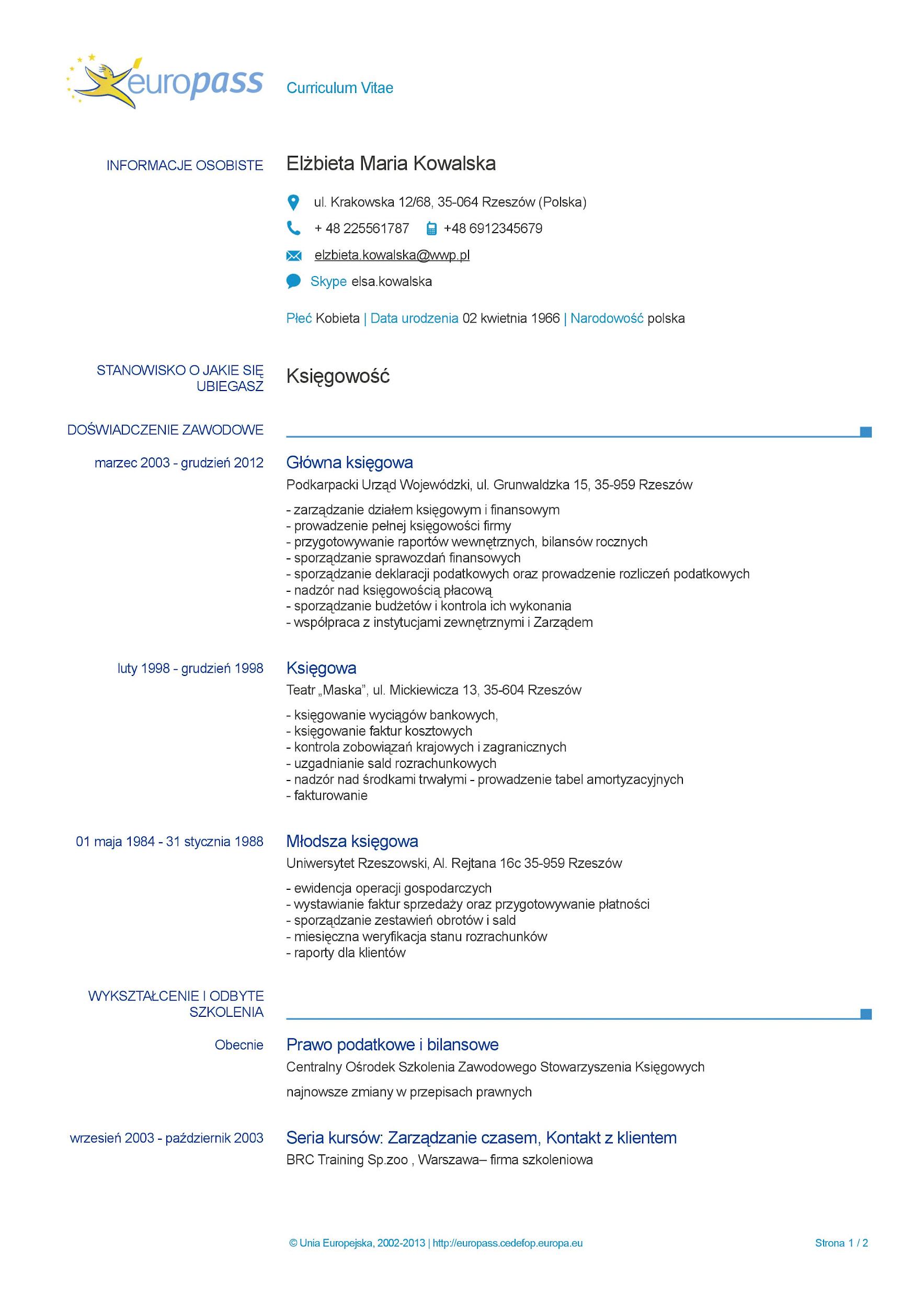 Europass CV - wzór