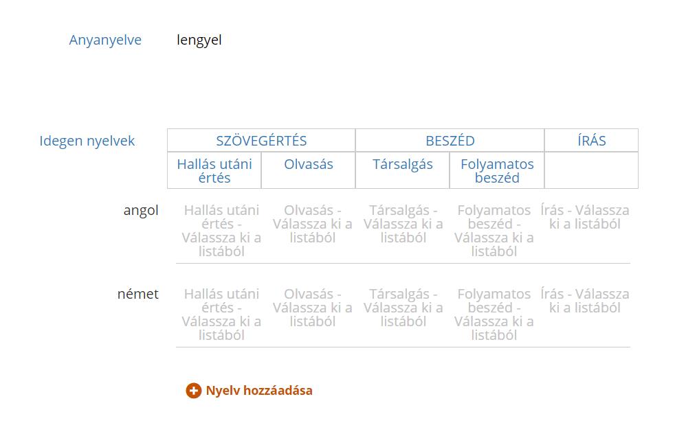 Europass CV przykłady