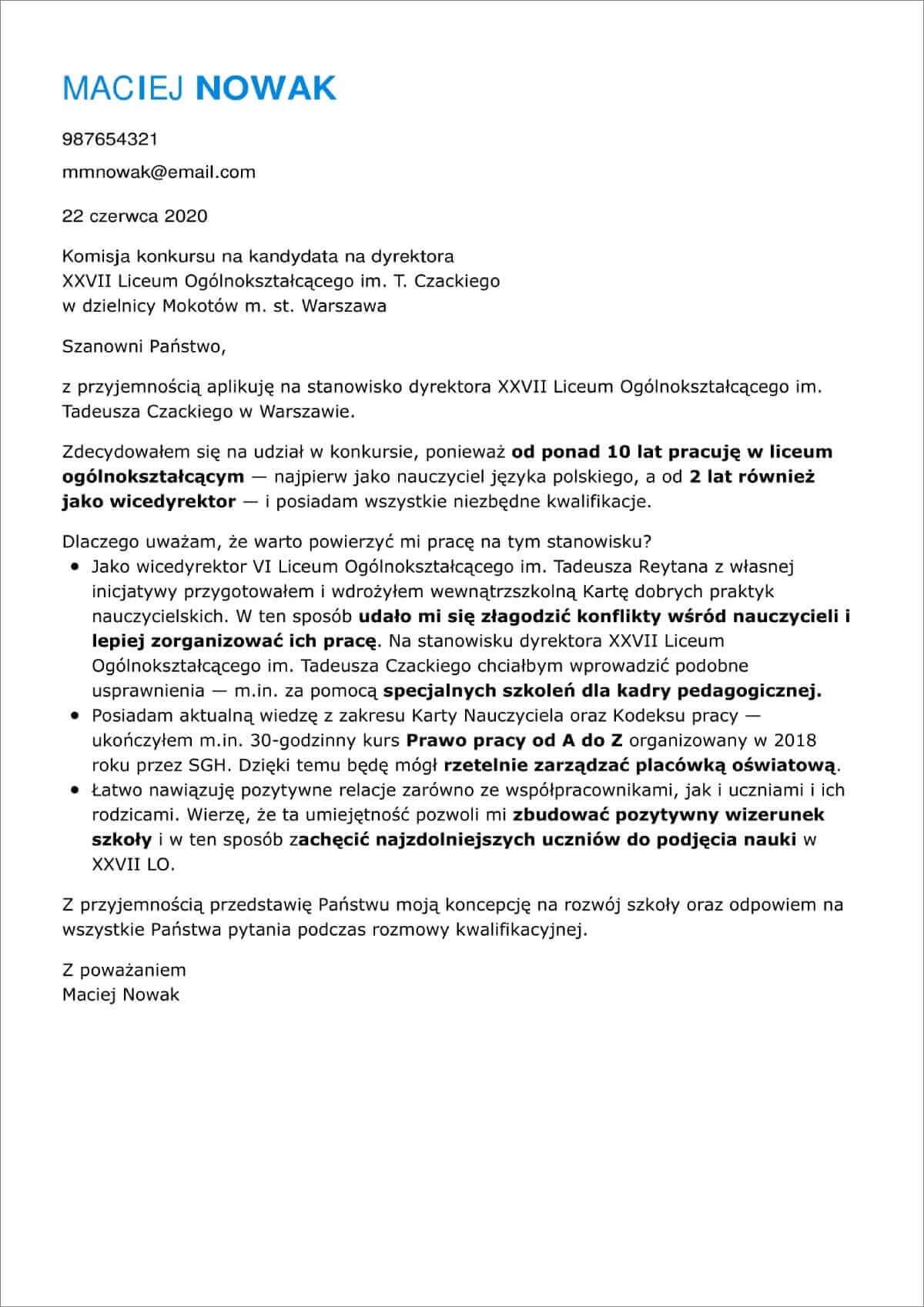 list motywacyjny wzor doc